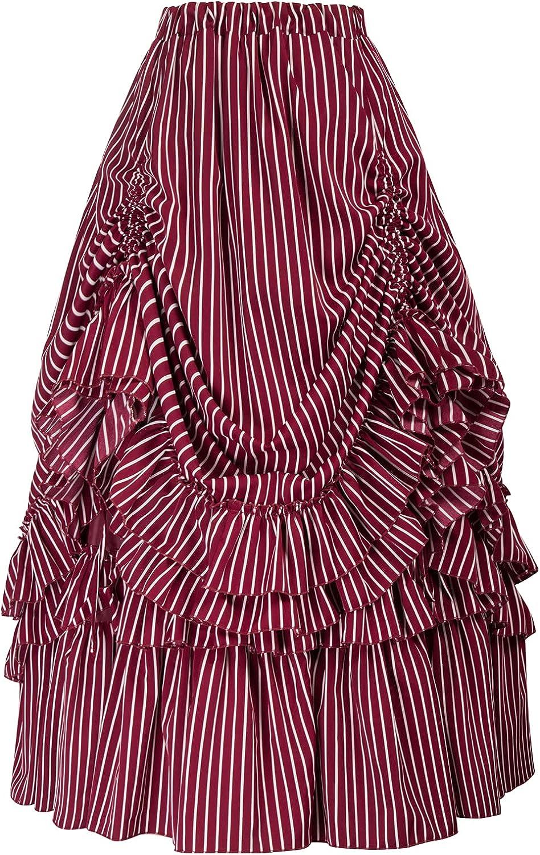 Steampunk Costume Essentials for Women Belle Poque Womens Vintage Stripes Gothic Victorian Skirt Renaissance Style Falda  AT vintagedancer.com