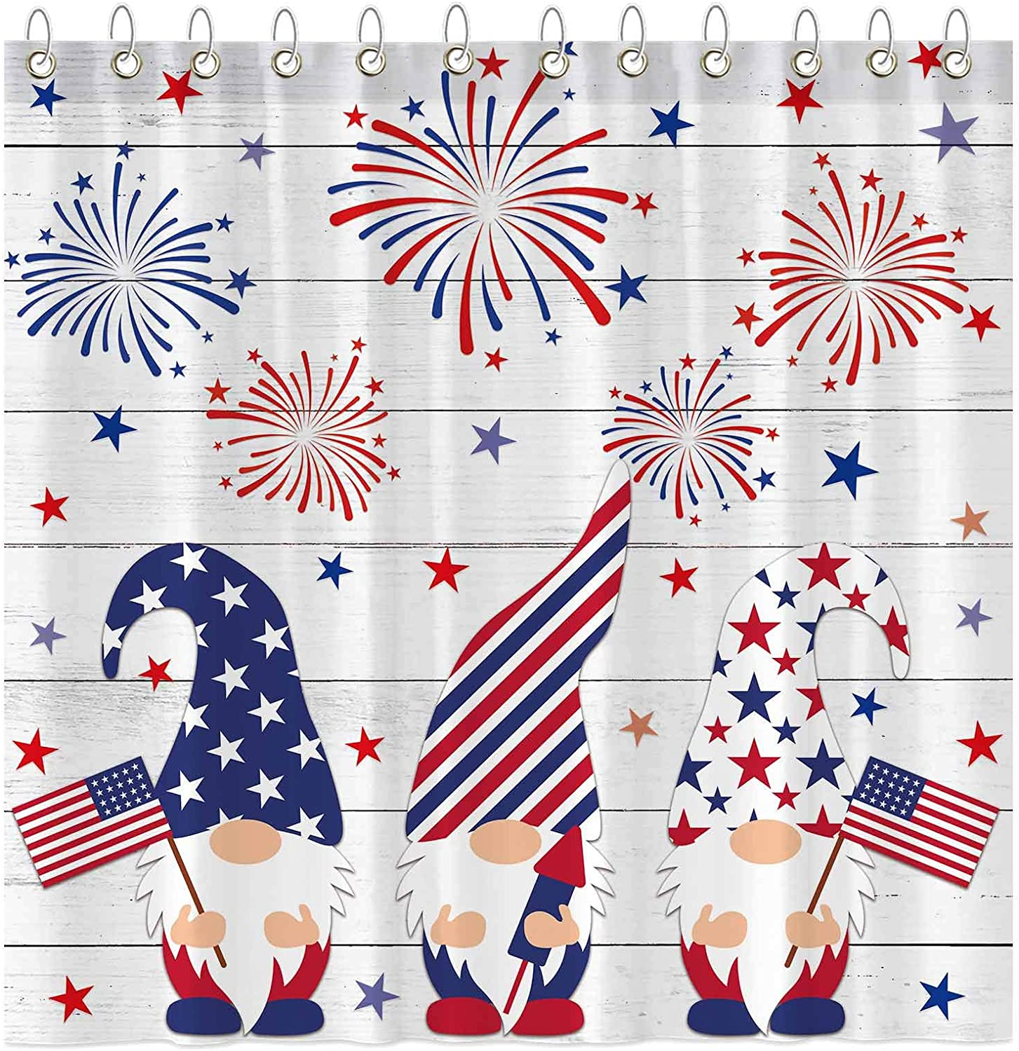 cheap Indefinitely Funnytree 4th of July Gnomes Shower Indep Curtain Set Hooks with