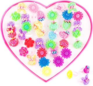 Super Z Outlet Assorted Colorful Plastic Flower Bows Sparkle Adjustable Rings with Heart Shape Display Case for Party Favors, Birthday, Adult & Children Size (36 Pack)