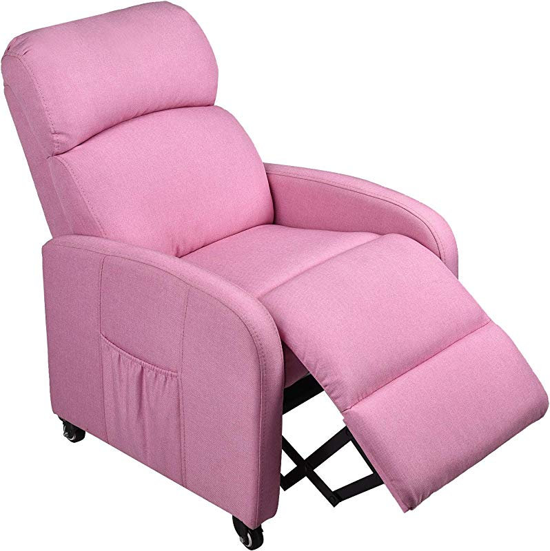Pink Kids Sofa Recliner With Storage Bag And Locked Wheels For Boys Girls Ergonomic Contemporary Children Living Room Sofa Recliner