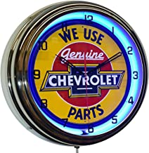 "ELG Companies LLC 16"" We Use Chevy Genuine Parts Sign Blue Neon Advertising Clock Garage Decor"