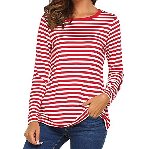 17291414b46 OURS Women's Round Neck Long Sleeve Basic T-Shirt Striped Shirts Tunic Top  Blouse