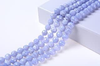 Goodbead Natural Light Blue Lace Agate Faceted Round-Cut Gemstone Beads 15.5