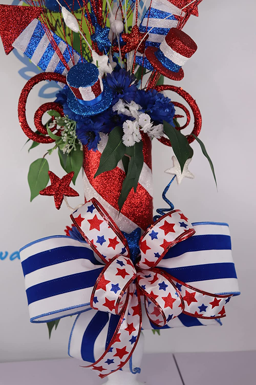 Patriotic Cheap mail order sales July 4th low-pricing Centerpiece with and White Fireworks Blu Red
