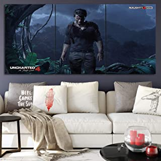 Uncharted 4:A Thief's end Canvas Posters Home Decor Wall Art Framework 3 Pieces Paintings for Living Room HD Prints Game Pictures