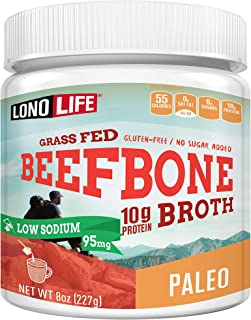 LonoLife Low-Sodium Grass-Fed Beef Bone Broth Powder with 10g Protein, Paleo and Keto Friendly, 8-Ounce Bul...