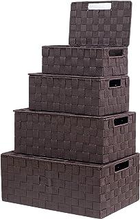 VK Living Woven Storage Baskets Box Bin Container, Nylon Woven Box, Nylon Storage Basket Box with Lid, Stackable Storage B...
