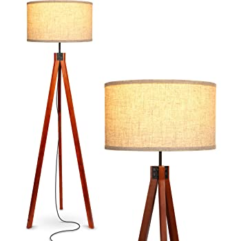Brightech Eden Tripod LED Floor Lamp – Mid Century Dimmable Modern Light for Contemporary Living Rooms - Tall Free Standing Lamp with Solid Wood Legs for Bedroom, Office - Havana Brown