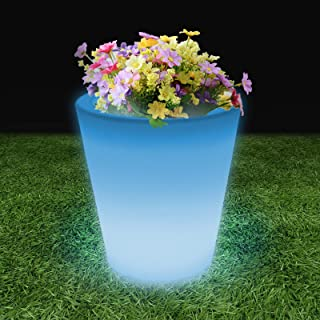 Magshion 16 Color LED Light Up Outdoor Indoor Round Patio Deck Flower Ribbed Garden Planter Pot