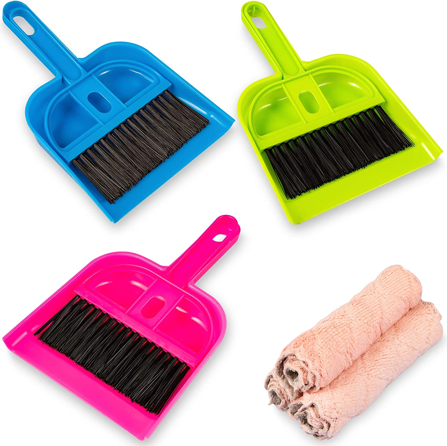 NEW before selling ☆ 3 Pack Mini Dustpan and Broom Cloths Cleaning with 3pcs Max 57% OFF Set