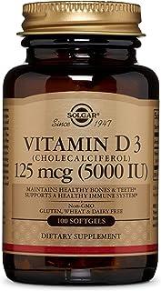 Solgar Vitamin D3 (Cholecalciferol) 125 Mcg (5000 Iu), 100 Softgels - Helps Maintain Healthy Bones & Teeth - Immune System Support - Non Gmo, Gluten Free, Dairy Free - 100 Servings