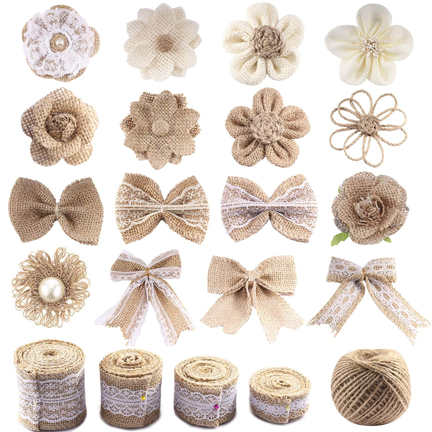Forise Natural Burlap Ribbon Flowers Set,Include 16pcs Handmade Rustic Burlap Flowers,Different Sizes of Lace Burlap Ribbon Roll and Twine Ribbon for Wedding Home Craft Embellishment,21pcs