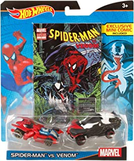 Hot Wheels Marvel Spider-Man vs. Venom Character Car 2-Pack with Comic