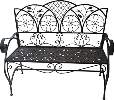Alpine Iron Brown Bench with Leaf Pattern, 38 Inch Tall