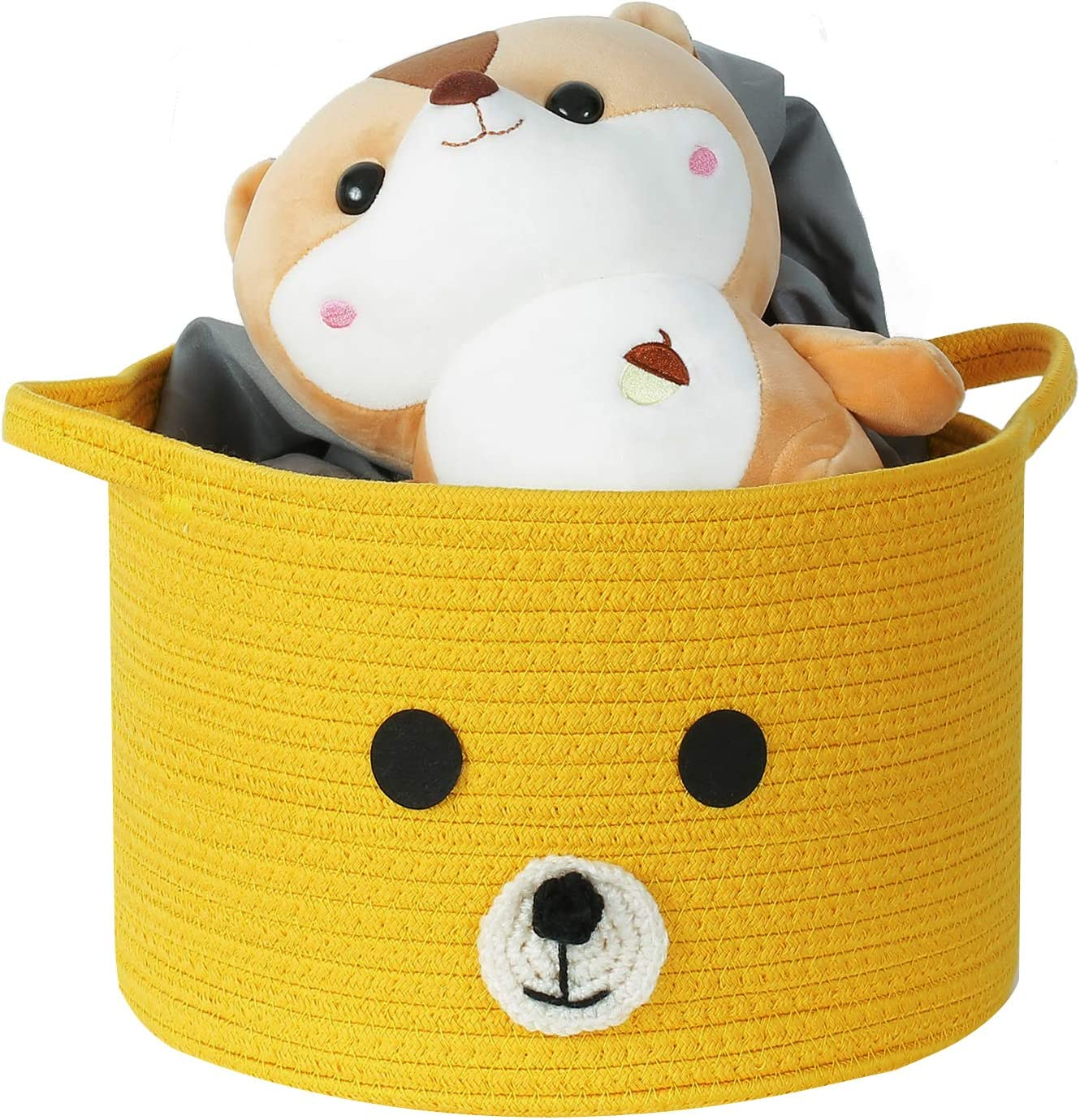 Clothes,12x 12x 8 Towels Enzk/&Unity Small Cotton Rope Storage Basket with Handles Decorative Cute Bear Organizer Bins for Kids Nursery,Toys Grey