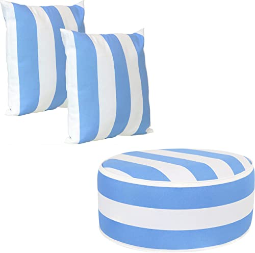 2021 Sunnydaze discount 17-Inch Square Beach-Bound Stripe Indoor and Outdoor Decorative Throw Pillows Set online sale of 2 with Zipper Closures and Inserts and Indoor and Outdoor Inflatable Ottoman Bundle online sale