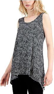 ALFANI Womens Black Speckle Scoop Neck Handkerchief Top AU Size:14