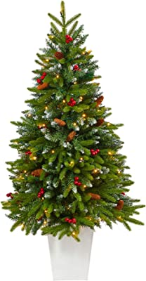 56in. Snow Tipped Portland Spruce Artificial Christmas Tree with Berries, Pinecones with LED Lights in White Planter
