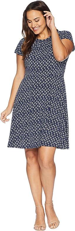Plus Size Abstract Batik Floral Dress