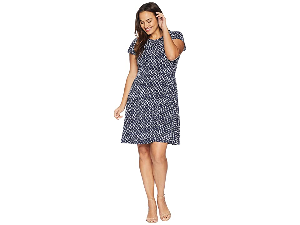 MICHAEL Michael Kors Plus Size Abstract Batik Floral Dress (True Navy/White) Women