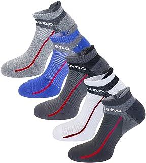 Aaronano 5 Pairs Men Half Cushioned Terry Athletic Running Socks Size