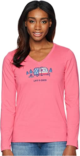 Americana Camp Crusher Vee Long Sleeve Tee