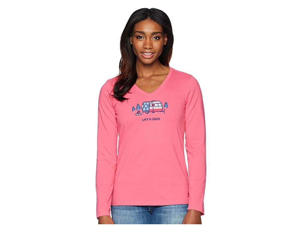 6a650a514 Life is Good Americana Camp Crusher Vee Long Sleeve Tee (Fiesta Pink)  Women's T Shirt
