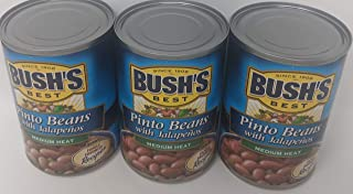 Bushs Pinto Beans with Jalapeno Peppers Bundle - 3 x 16 Oz Cans of Bushs Jalapeno Pinto Beans, Bundled with Recipe Sheet