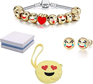 Emoticon Slide Charm Bracelet and Earrings Set and Love-Struck Coin Purse Inside White and Blue Box. Charms are 18K Gold Plated. Bracelet is 7