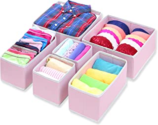 Simple Houseware Foldable Cloth Storage Box Closet Dresser Drawer Divider Organizer Basket Bins for Underwear Bras, Pink (Set of 6)