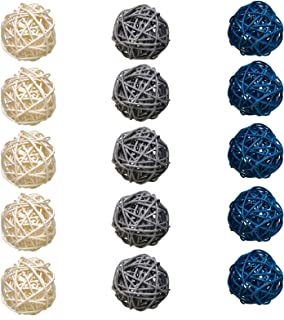Timoo Rattan Balls Decorative, 15 Pack Wicker Balls for Home Decor Aromatherapy Accessories Wedding Decoration Baby Shower...