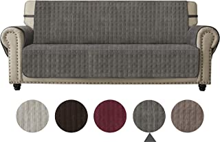 Ameritex Sofa Cover Slip Resistant Sofa Slipcover Protector, Suede-Like, Furniture Protector Slipcover for Dogs, Children, Pets Sofa Slipcover for Leather Couch (Gray, Sofa)
