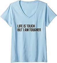 Womens Cancer Survivor Life is tough but I am tougher V-Neck T-Shirt