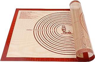 Super Kitchen Tapis de pâtisserie en silicone de qualité alimentaire double épaisseur avec mesures 71,1 x 50,8 cm antidéra...