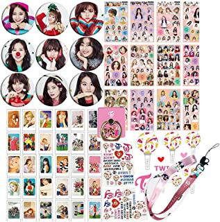 Twice Gifts Set for Once - 30Pcs Twice Fancy You Lomo Card, 12 Sheet of Stickers, 9 Button Pins, 1 Lanyard, 1 Twice Phone Ring Holder, 2 Tattoo Stickers, 1 3D Sticker