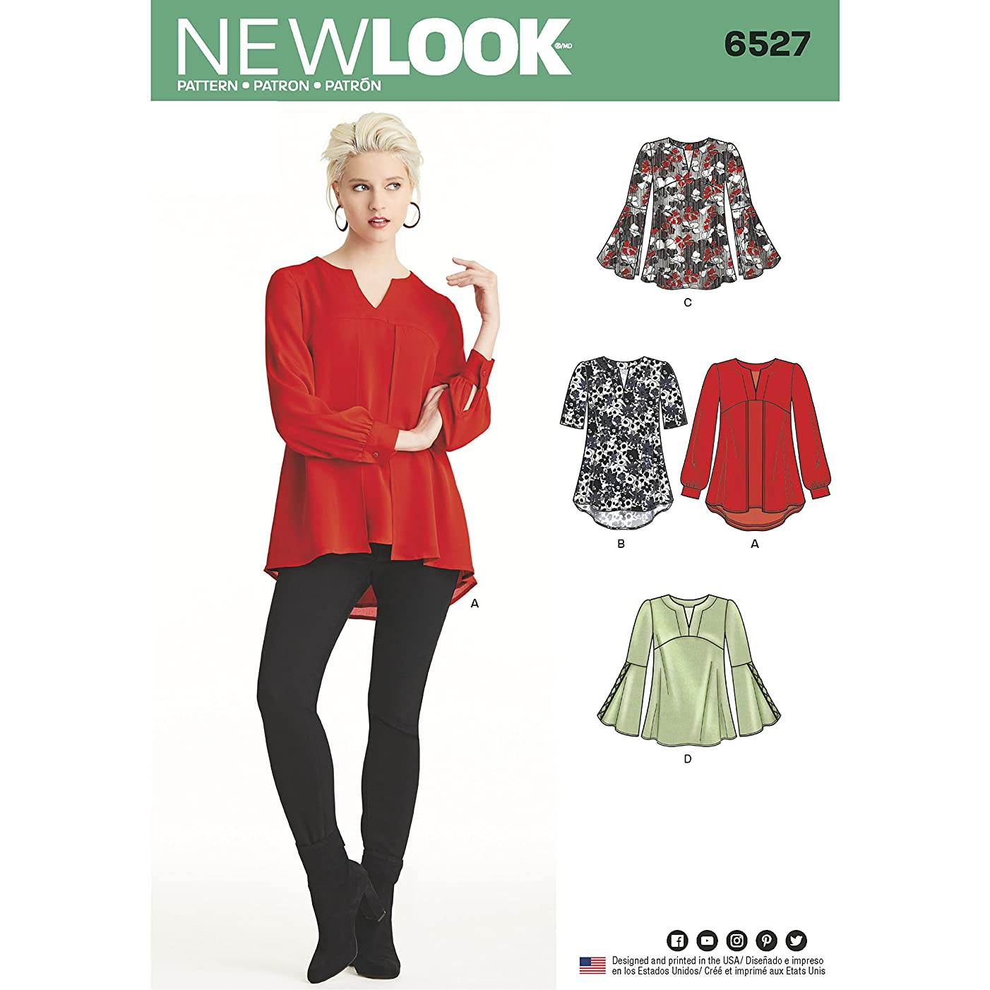 NEW LOOK Sewing Pattern 6527 - Misses' Tunic in Two Lengths, A(8-10-12-14-16-18-20)