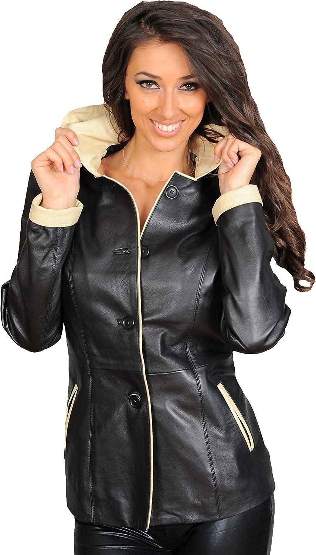 Womens Genuine Leather Blazer Jacket Ladies Mid Length Fitted Hooded Black Coat Eva