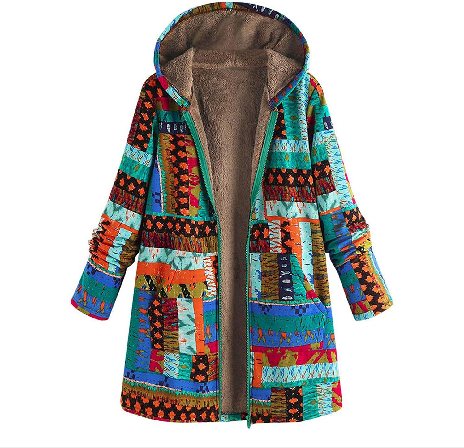 ZSBAYU Coats for Women Winter Fashion Plus Size Casual Jackets Boho Multicolored Warm Vintage Coats with Hood and Pocket