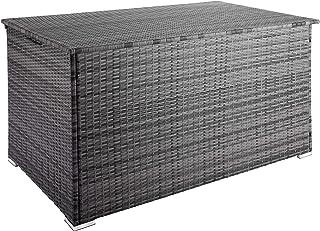 TecTake 800715 Coffre de Jardin de Rangement extérieur 750 L en Résine tressée, Cadre en Aluminium, 145 x 82,5 x 79,5 cm -...