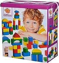 Eichhorn 100010181 150 bunte Holzbausteine in der Aufbewahrungsbox mit Kordel und Sortierdeckel, Motorikspielzeug für Kinder ab 1 Jahr geeignet