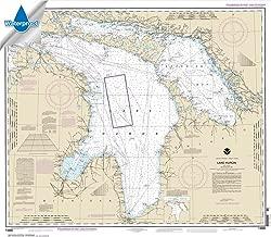Paradise Cay Publications NOAA Chart 14860: Lake Huron, 33.6 X 38.8, WATERPROOF