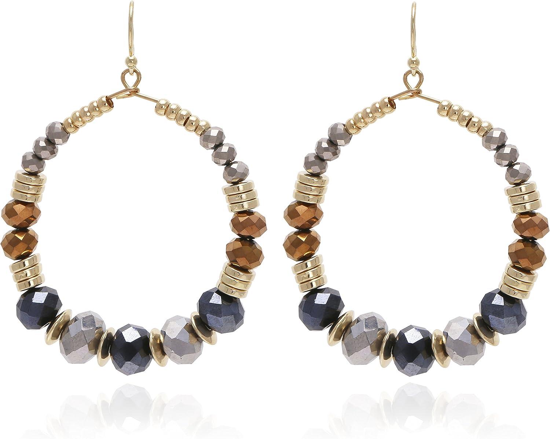 Boho Chic Multi Beads Round Hoop Dangle Drop Statement Earrings for Women