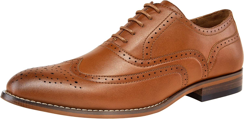 VOSTEY Men's Dress shoes Classic Formal Wingtip Brogue Oxfords