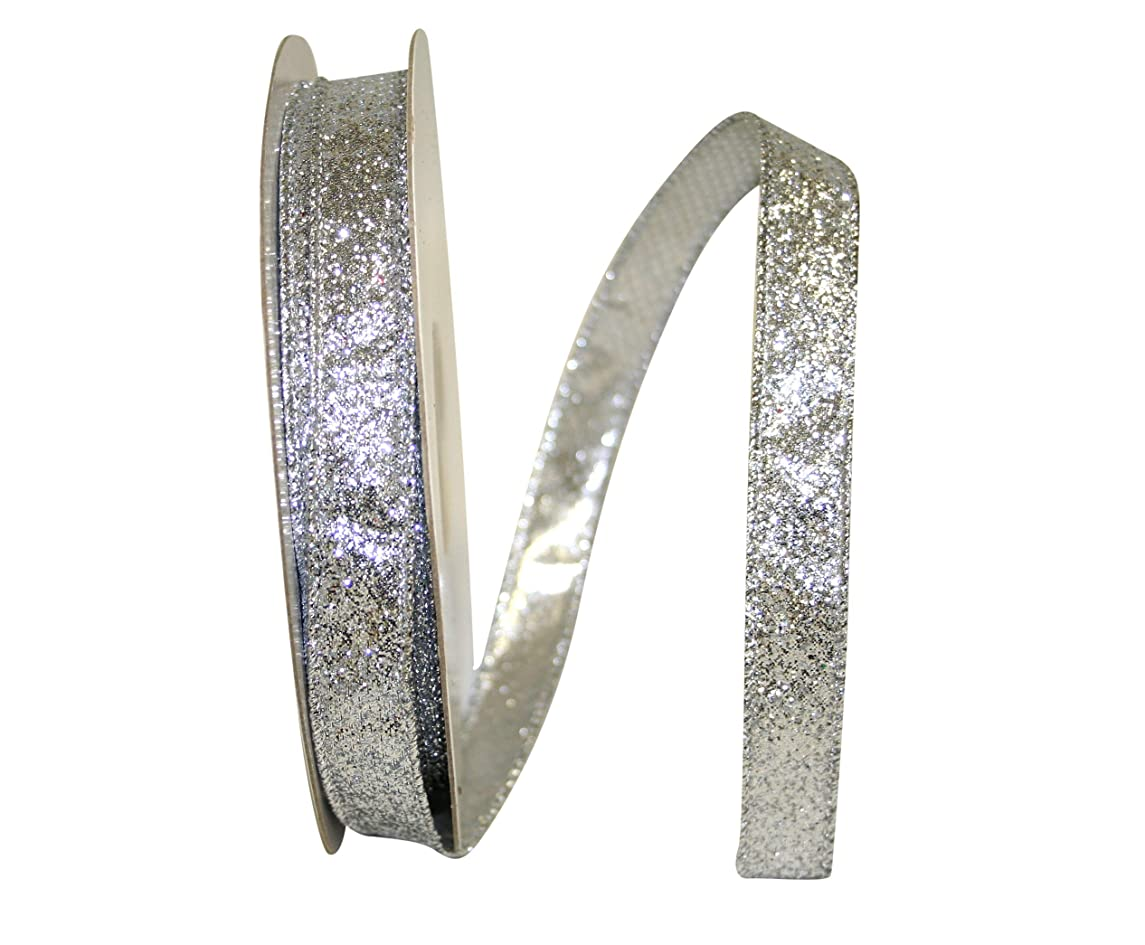 Reliant Ribbon 92285W-070-03J Glitter Lame 2 Wired Edge Ribbon, 5/8 Inch X 25 Yards, Silver