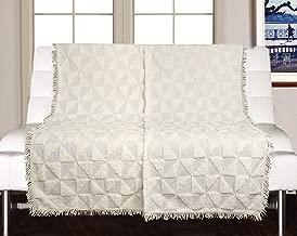 Saral Home Soft Cotton Unique Firki Design Tufted Throw/Sofacover -140x160 cm, Ivory