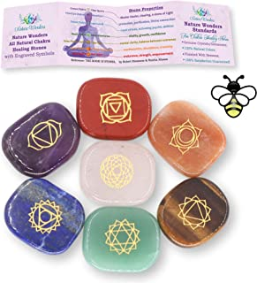 NatureWonders All Natural 7 Chakra Stone Set with Engraved Symbol (Information Card & Pouch) - Healing Crystals, Balancing...