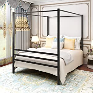 Canopy Bed Frame Platform Bed Frame Morden Design /Heavy Duty Steel Slat and Support with Headboard and Footboard /No Box Spring Needed / Easy Assembly(Queen, Black)