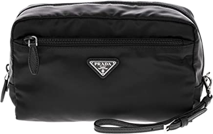 Prada Black Fabric Cosmetic Pouch with Front Zip Pocket and Wrist Strap c49de41f8804b