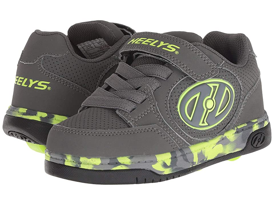 Heelys Plus X2 Lighted (Little Kid/Big Kid) (Charcoal/Bright Yellow/Confetti) Boys Shoes