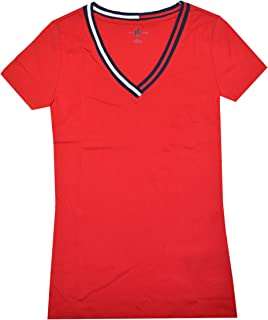 TOMMY HILFIGER Women Signature Short Sleeve V-Neck Logo Tee